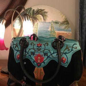 Papillon Embroidered Black Velvet Small Bag